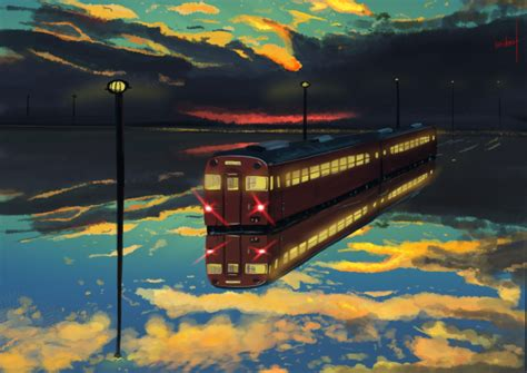 Wallpaper Anime Train, Artwork, Reflection, Clouds, Water