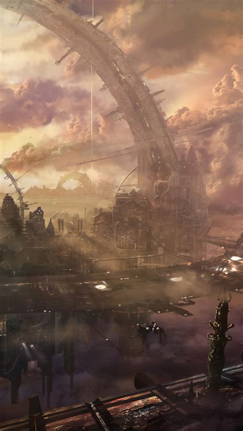 Wallpaper Heaven, city, arch, building, space station